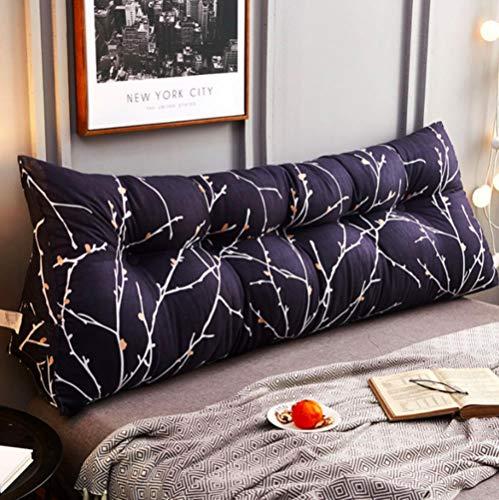 LIMMC Multifunción doble almohada simple cama almohada doble tatami cama suave bolsa extraíble almohada cama almohada para dormir moderna decoración del hogar, Azul, 150x50x25cm