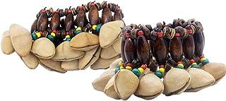Mowind 2PCS آفریقایی قبیله ای آجیل دستبند پوسته دستبند Dora Nut Handbell لوازم جانبی کوبه ای