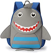 PIXNOR Light Grey Cute Shark Backpack