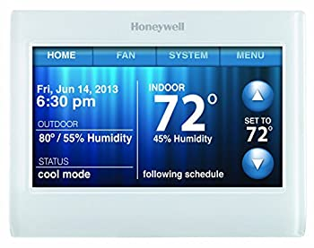 Honeywell TH9320WF5003 Wi-Fi 9000 Color Touch Screen Programmable Thermostat 3.5 x 4.5 Inch White  Requires C Wire   Renewed