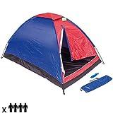 Enrico Coveri - Tienda de campaña para camping o playa de nailon en forma de cúpula para 4 personas, familiar, con cortavientos y mosquitera. De color rojo y azul