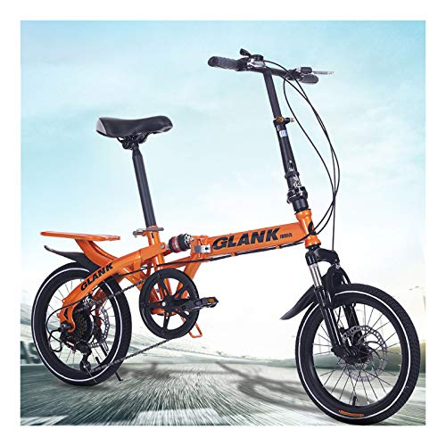 FZ-Kostum 14/16 Inch Orange/Red Folding Bike for Adult, High Carbon Steel 6 Variable Speed Shock Absorption, Adult Students and Children, Portable,Orange,16inch