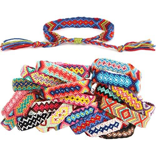Suszian Cadena de Pulseras Tejidas de la Amistad, 20 PCS Mix Color Nepal Pulseras Tejidas de la Amistad con Cierre de Nudo Deslizante Pulseras Ajustables para niñas Adolescentes