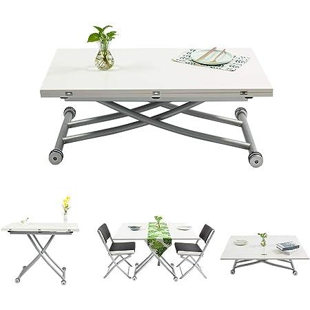 Beliwin Table Basse Relevable, Table à Manger Blanche Réglable en Hauteur pour Salon et Bureau, Dessus de Table Pliant