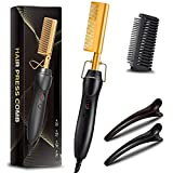 Hot Comb Hair Straightener,2in1 Ceramic Comb Security Portable Curling Iron Heated Brush,Multifunctional Copper Hair Straightener Brush Straightening Comb for Wet & Dry Hair Wigs Women Men Brush