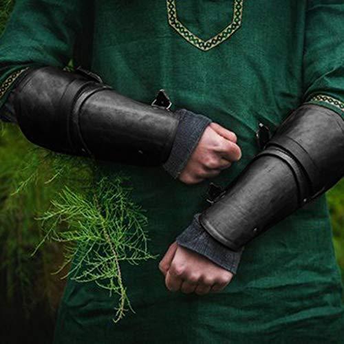 Wikinger LARP Lederstulpe Armstulpe mit geprägtem Thorshammer braun-antik