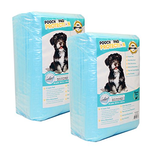 Pooch Pad Protection Best Dog Training Pads 50 Count, Liquid Absorbent Pee Pads. Extra Soft & Thick Puppy Pads for Pets Faster Results