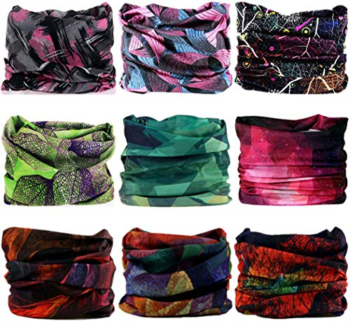 VANCROWN Headband Neck Gaiter Head Wrap Headwear Face Mask Magic Scarf Bandana for Men and Women (9PC.Lady Series)