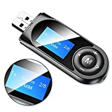 Bluetooth 5.0 Transmitter and Receiver with LCD Display, 2 in 1 Portable Visualization Bluetooth Adapter, 3.5MM Wireless...