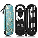 Fintie Holder Case for Apple Pencil (1st and 2nd Generation), PU Leather Protective Carrying Bag Sleeve Compatible with Apple Pen Accessories, USB Cable, Earphone, Samsung Stylus, Blossom