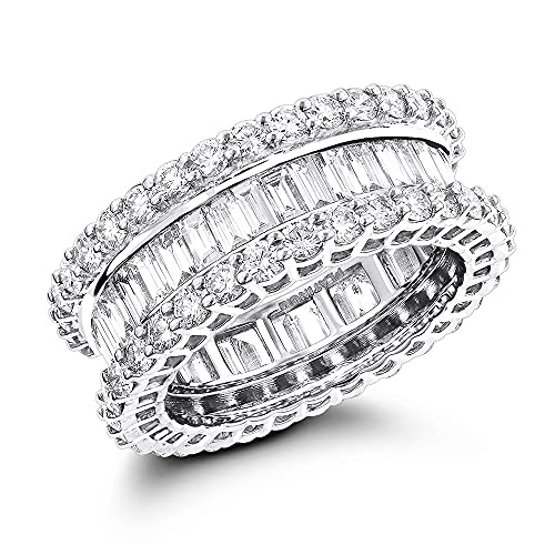 Anillo de eternidad con diamante transparente D/VVS1 con forma redonda y baguette de 5,72 quilates, chapado en oro blanco de 14 quilates, ancho de 7 mm