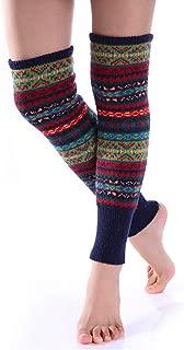 Women Bohemian Knit Long Leg Warmers Over Knee Ankle Warmer Cover Boot Cuffs