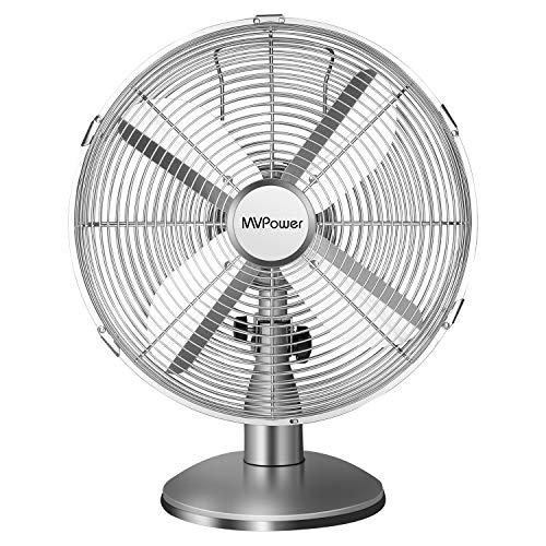 MVPower Ventilatore da Tavolo, 12 Pollici Ventilatore da Scrivania, 34,5cm Diametro con 3 Livelli di velocità, Oscillazione 75 ° Commutabile, 35W, Metallo Cromato