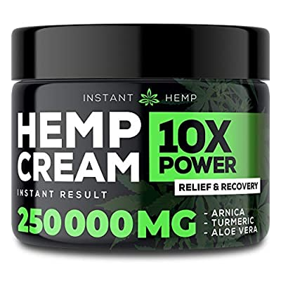 Instant Hemp Pain Relief Cream - 250000 Mg - Relieve Muscle, Joint & Arthritis Pain - Natural Hemp Extract for Arthritis, Foot & Back Pain - 2oz from HempNutrition