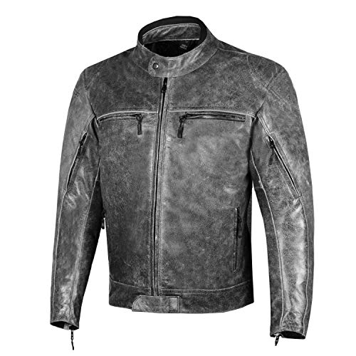 Men Veteran Buffalo Leather Vintage Distress Cruiser Motorcycle Biker Jacket L