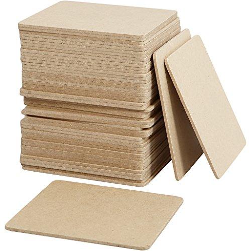 Creativ Untersetzer, 10 x 10 cm, Dicke 3 cm, MDF, 50 Stück, 55761