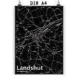 Mr. & Mrs. Panda Poster DIN A4 Stadt Landshut Stadt Black -