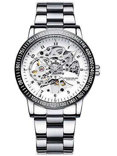 Reloj de Pulsera Acero Inoxidable Mecánico Automático Impermeable para Hombre (Plata/Blanco/Negro/Plata)
