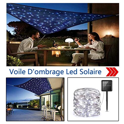 Sonnensegel mit led Beige rechteckig 6.5x7m UV-Strahlung Schutz Regenfeste Sonnenschutzblende Atmungsaktiv Für Terrasse Mit Schattensegel-Befestigung