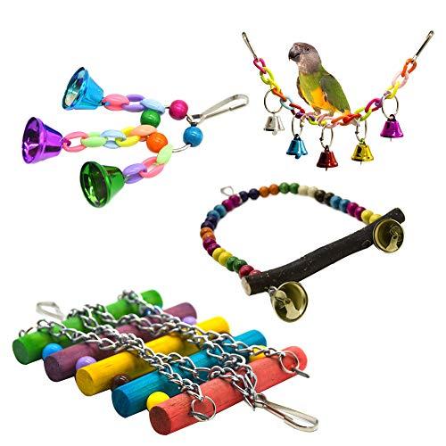 4pcs / Ensemble Jouet De Cage De Perroquet Suspendu Balançoire Socle Suspendu Pont Cloche Corde Balançoire Oiseaux Jouets Cloche De Bois Coloré Perles, Petites Cages Perruche Accessoires Décoratifs