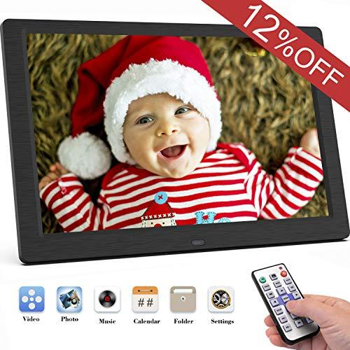 Digitaler Bilderrahmen, SEQI 10.1 Zoll 1920x1080 ochauflösendes Full-IPS-Display Foto/Musik/Video-Player Kalender Wecker automatischer EIN/aus Timer, unterstützt USB-und SD-Karte, Fernbedienung