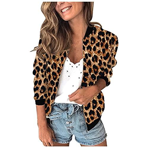 Damen Übergangsjacke Retro Leopard Reißverschluss Up Bomberjacke Casual Mantel Langarm Jacke Casual Outwear Warme Sportjacke
