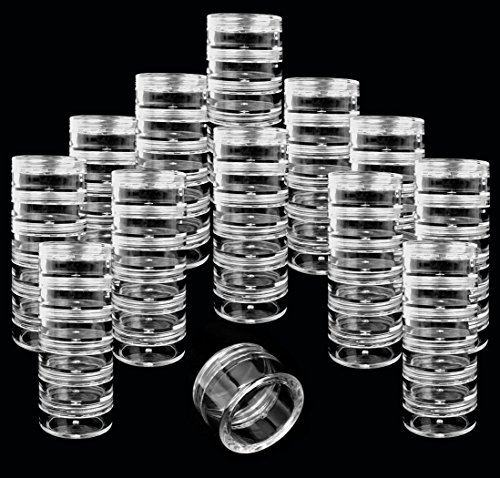 Beauticom 12 Pack(72 Pieces) 5G/5ML Transparent Stackable Plastic Storage Jar with Clear Lid for Jewelry, Findings, Pins, Small and Loose Items