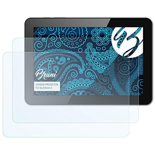 Bruni Película Protectora Compatible con bq Edison 2 Protector Película, Claro Lámina Protectora (2X)