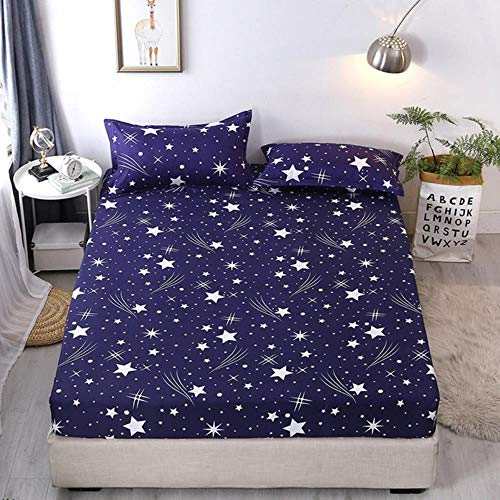 HJUYT Full Size Non-Slip Printed Fitted Sheet Elastic Bed Mattress Cover Elastic Rubber Band Printed Bedding Fitted Sheet,N,150cm*200cm