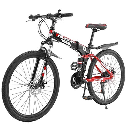 MMUA Folding Mountain Bike with 26 Inch Wheels and 21 Speed Dual Disc Brakes, Full Suspension Non-Slip Mens Womens Trek Mountain Bike Upgrade, Bicycles for Student Adults (Red A)