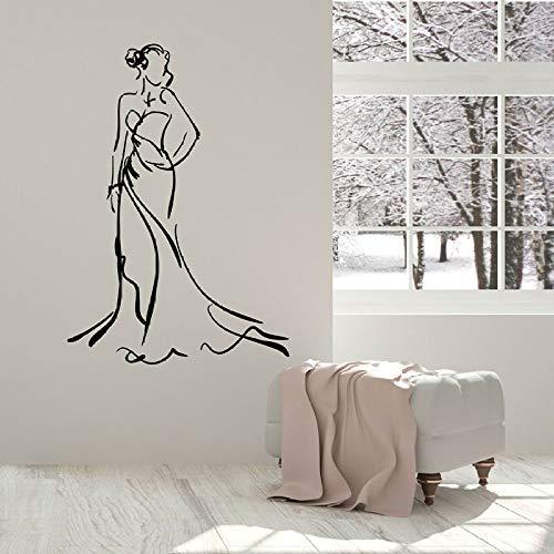 Hermosa mujer calcomanía de pared dama vestido belleza moda vinilo ventana pegatina niña habitación decoración del hogar tienda de ropa mural pegatina de pared42x29 cm