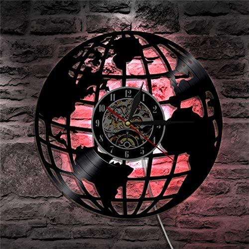 llvvv Reloj de Pared Disco de Vinilo Arte de la Pared Mapa del Mundo Viajes Geografía Tierra Decoración para el hogar Regalo Vintage Hecho a Mano