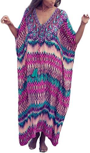 Damen Maxikleid mit Blumenmuster und Ethno-Muster, Übergröße, Kaftan - mehrfarbig - Einheitsgröße