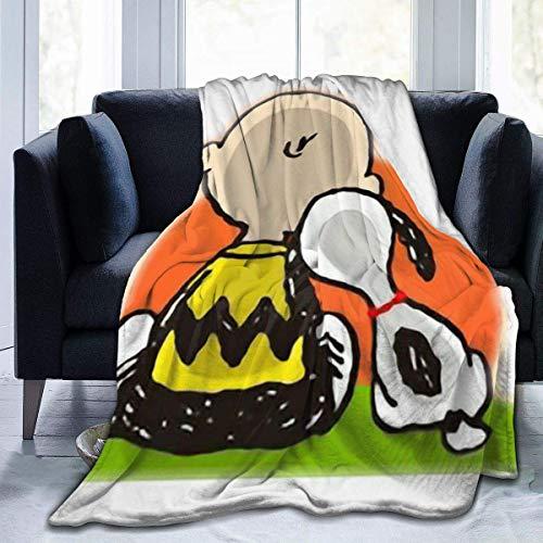 Manta de Franela Tela de Cepillo Extra Suave Súper cálida Mantas para sofás acogedora y Ligera SNO-opy y Charlie Brown50 x40,W127cm X L102cm