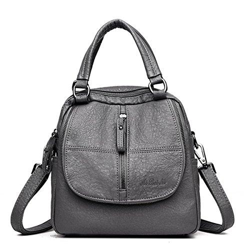 Mode Rucksack, JOSEKO Frau High-End Multifunktion Weich PU Leder Handtasche Doppelschicht Grosse Kapazität Rucksack Grau