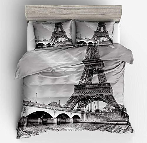 Wzhfsq Juego de funda de edredón para cama de matrimonio (3 piezas, 135 x 200 cm), diseño de torre Eiffel en blanco y negro
