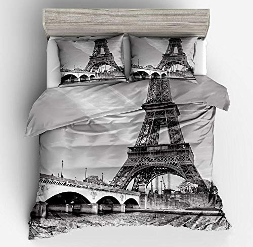 Hbvvaceo Duvet Cover with 2 Pillowcases 3D Printed Eiffel Tower landscape in black and white Bedding Set with Zipper Closure Unique Design Anti-allergic Double Duvet Cover Set King - 240 x 220 cm Duv