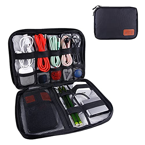OrgaWise Organizer Accessori Porta Viaggio per Elettronica Portatile Custodie per Dischi rigidi, Cavi di Ricarica, Caricabatterie USB etc(Black-01)