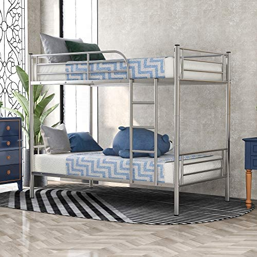 Metal Bunk Bed Twin Over Twin Heavy Duty Bed Frame with Guardrails and Ladder for Boys Girls product image
