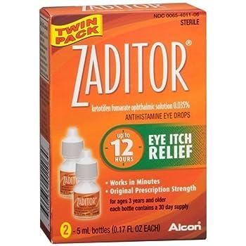 Zaditor Antihistamine Eye Drops Twin Pack  2 bottles - 0.17 fl oz each  0.34 fl o by Zaditor