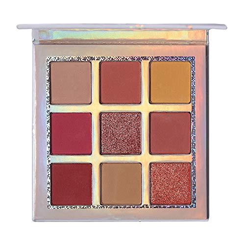 Ombre à paupières cosmétique Cadeau Saint Valentin wyxhkj Maquillage cosmétique de poudre de fard à paupières mat de poudre de fard à paupières de pinceau imperméable de 9 couleurs (C)