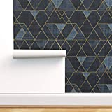 Spoonflower Peel and Stick Removable Wallpaper, Navy Blue Texture Geometric Gold Mid Century Triangles Print, Self-Adhesive Wallpaper 24in x 108in Roll