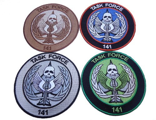 Call of Duty Modern Warfare Task Force 141 Logo Embroidered patches (3.5 Inches) 4pc