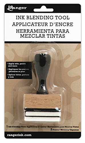 Ranger Ink Blending Tool Handle with 2 Foams, Black/Brown/White
