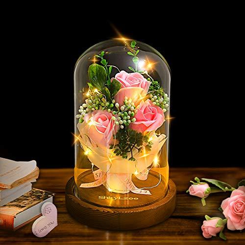 shirylzee Encantada Rosa La Bella y La Bestia Rosas Artificiales con luz LED Base de Madera Regalo para día de San Valentín Día de la Madre de cumpleaños Boda Aniversario decoración del hogar