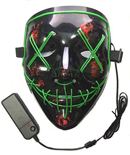 Neusky LED LEUCHT Maske, 3 Verschiedene Blinkmodi Elektronik Maske, Party Leuchtmaske (Schwarz-Grün)