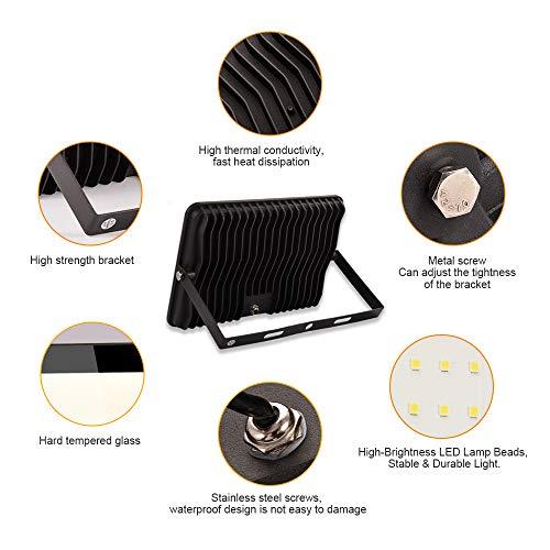 150W LED Foco Exterior Alto Brillo Proyector Led Impermeable IP65 Blanco Cálido 3000K Floodlight Led Foco Exterior Iluminación para Patio, Camino, Jardín, Almacén [Clase de Eficiencia Energética A++]