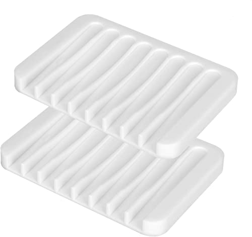 Sherbo Soap Dishes for Bathroom and soap case Holder Tray for Sponges,White Sink Deck Bathtub Shower for Kitchen 2Pie...