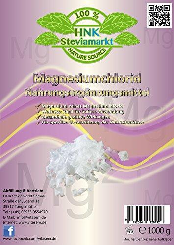 Magnesiumchlorid 1 kg hautfreundlich Ergänzungsmittel für Sportler gegen Muskelverspannungen und Magnesiummangel Hexahydrat (1x 1kg)