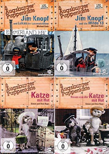 Augsburger Puppenkiste: Jim Knopf und Lukas der Lokomotivführer + Jim Knopf und die Wilde 13 + Katze mit Hut + Neues von der Katze mit Hut [4er DVD-Set]